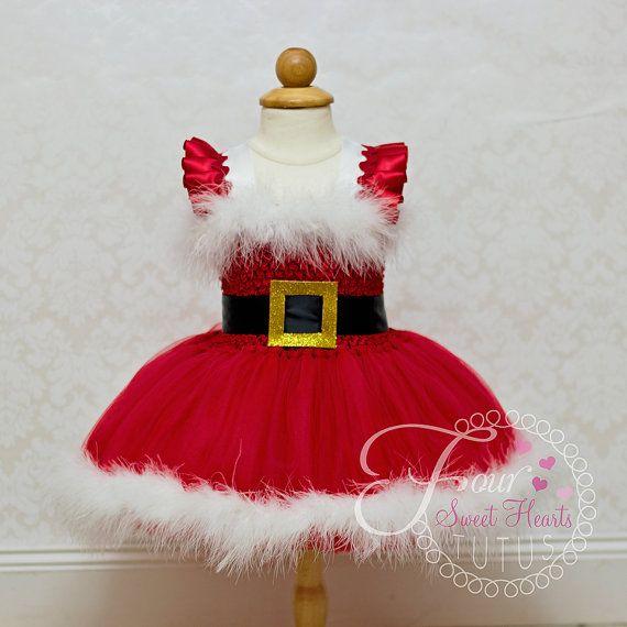 Santa Tutu Dress Mrs Claus Tutu Dress Girls Holiday Dress