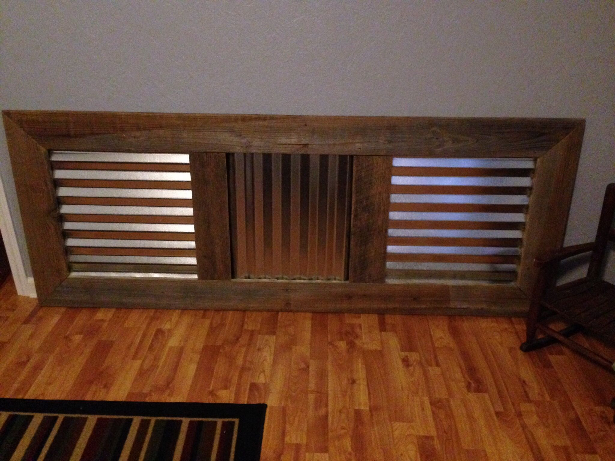 King size headboard made from reclaimed wood and
