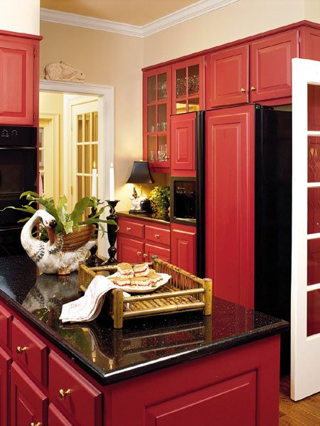 Black Granite With Red Cabinets Looks Stunning Faith Pearl Red Kitchen Cabinets Red Kitchen Red Cabinets