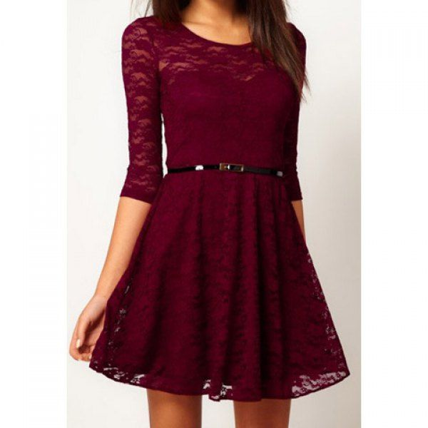 Charming Scoop Collar Solid Color Hollow Out Half Sleeve Pleated Women S Lace Dress Lace Dress Long Red Lace Dress Lace Dress
