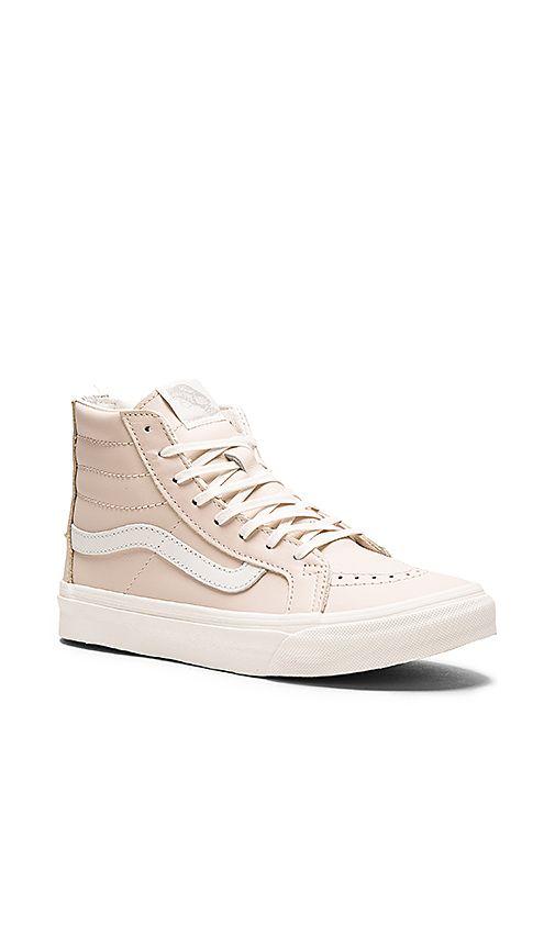 ee1e2db463 Vans Leather Sk8-Hi Slim Zip Sneaker in Whispering Pink   Blanc de Blanc