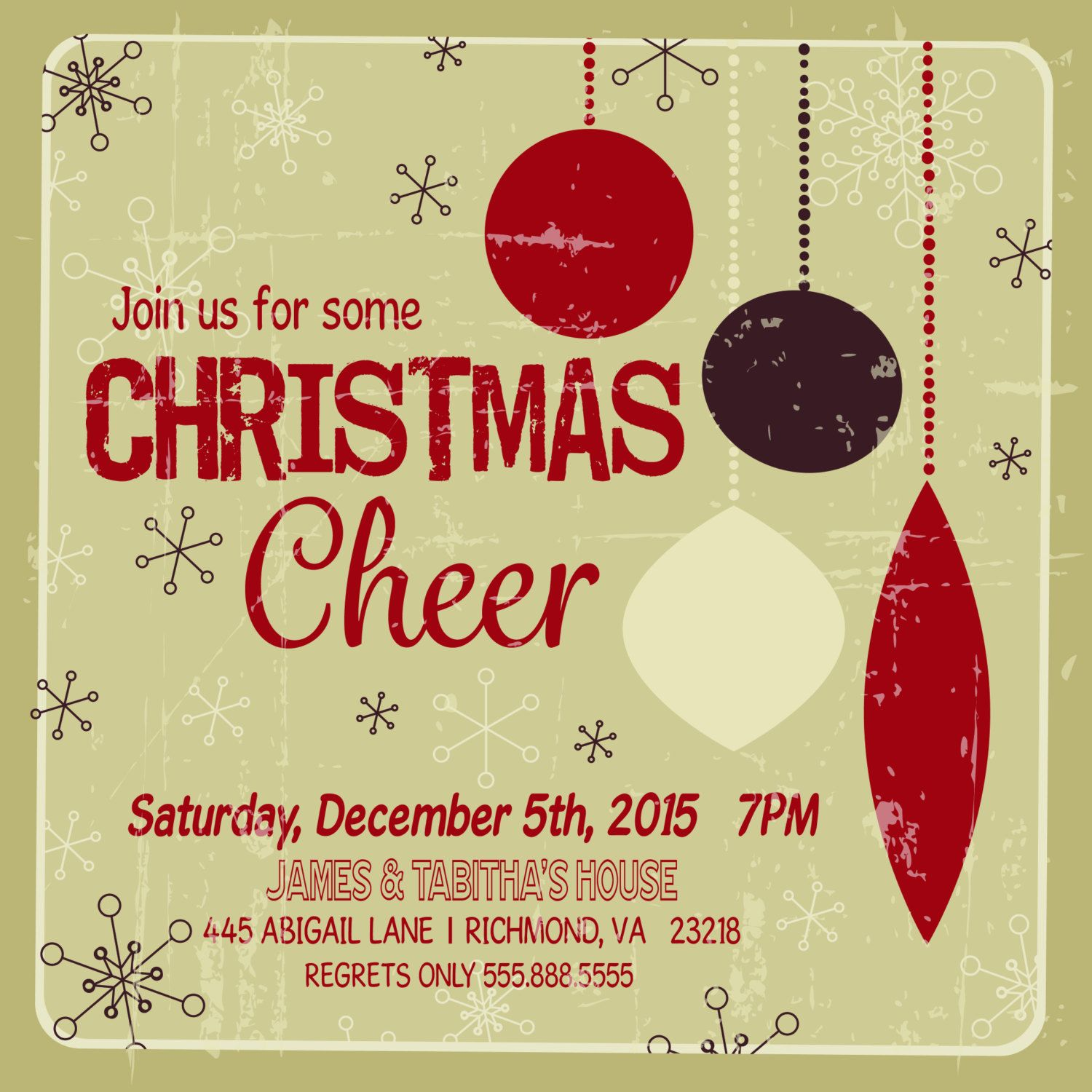 Custom Christmas Party Invitation, Printable Christmas Invitation ...