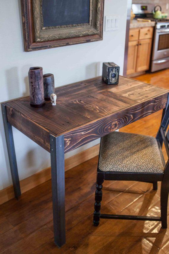 Repurposed Pallet Wood Desk with Metal Legs  Small desks Metals