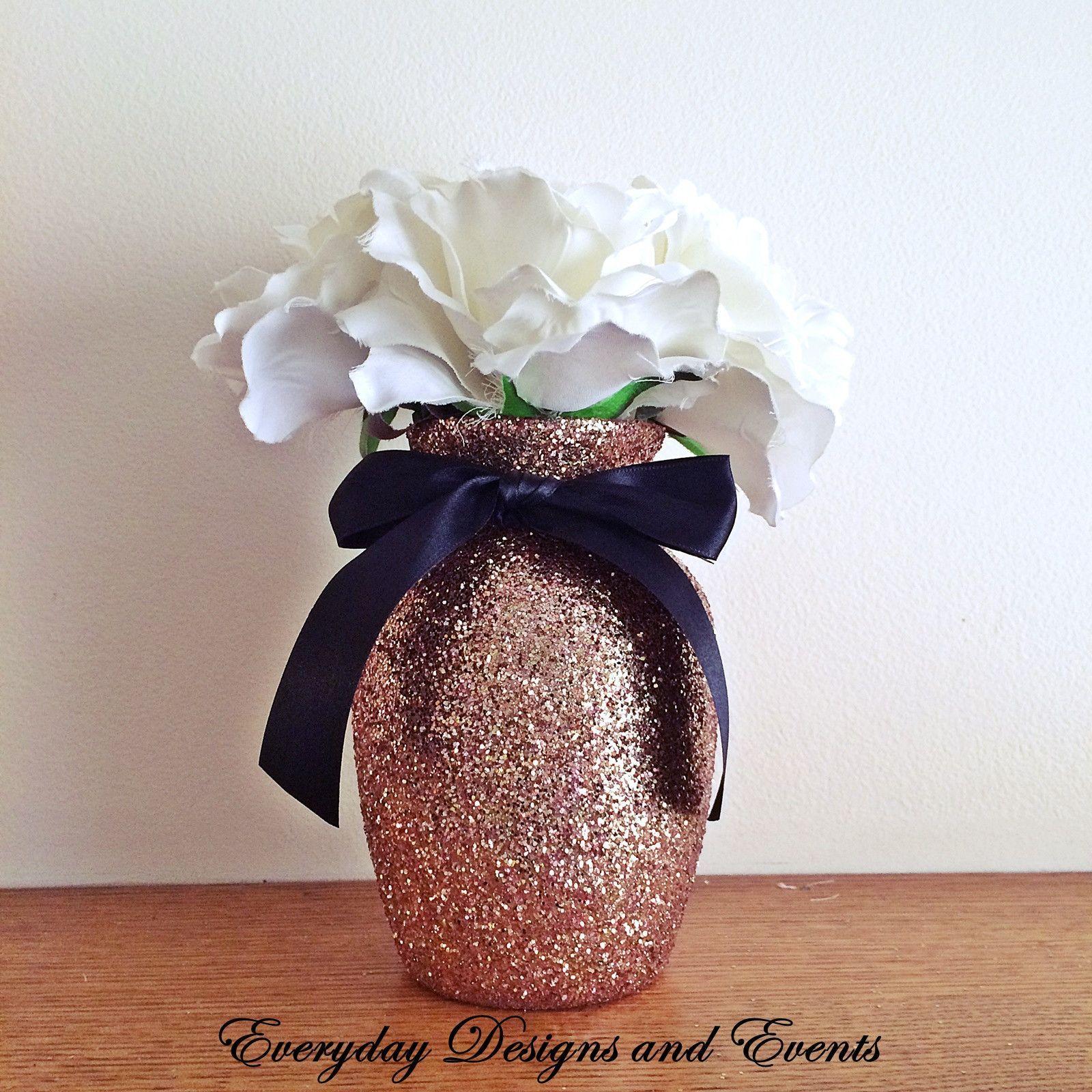 3 rose gold glitter vases with black satin bows wedding 3 rose gold glitter vases with black satin bows wedding centerpieces black wedding reviewsmspy
