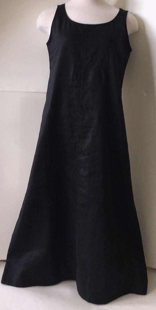 9f3cfb5ffd02 J Jill Black Linen Dress s Petite Long Casual Summer Semi Sheer Sleeveless
