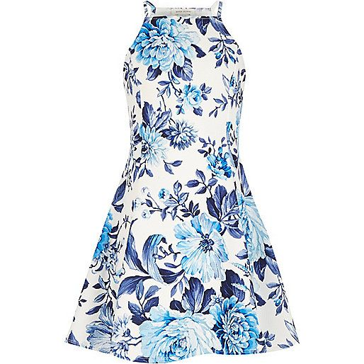 Girls blue floral print fit and flare dress - day dresses - dresses - girls
