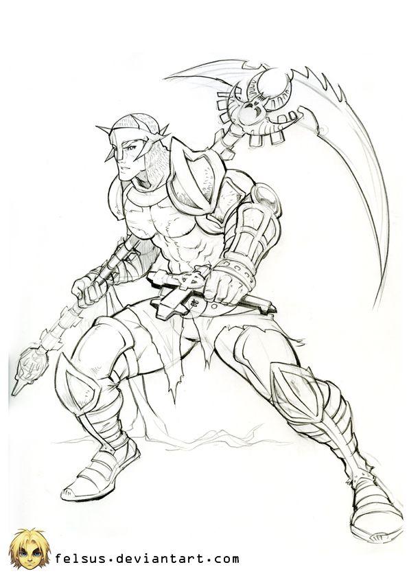Warrior Sketch By Felsus On Deviantart Warrior Woman Coloring Pages Warrior
