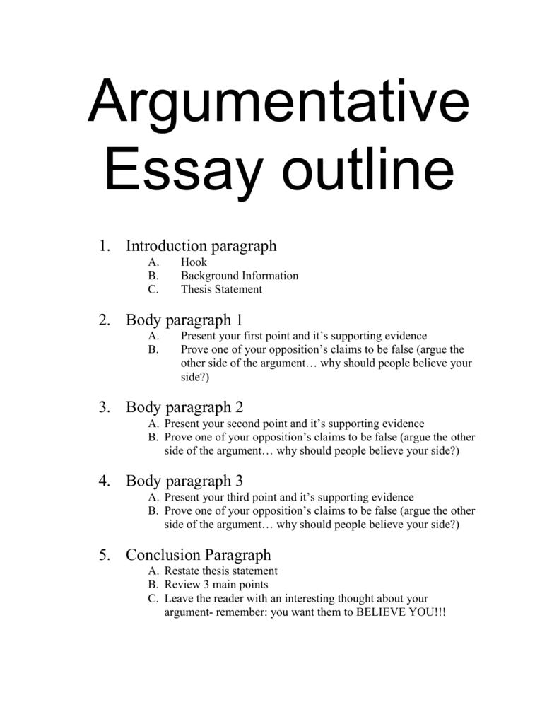Argumentative essay outline in 23  Essay outline, Argumentative