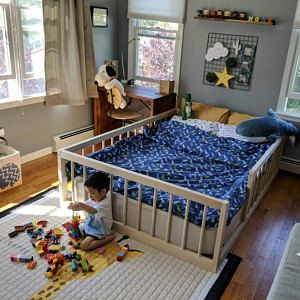 Montessori Floor Bed With Rails & slats Twin Size   Diy toddler
