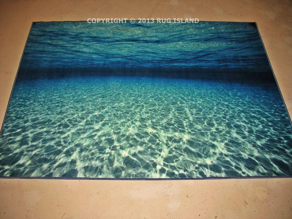4x6 4 5 X 6 Underwater Scene Tropical Beach Coastal Emerald Blue Area Rug