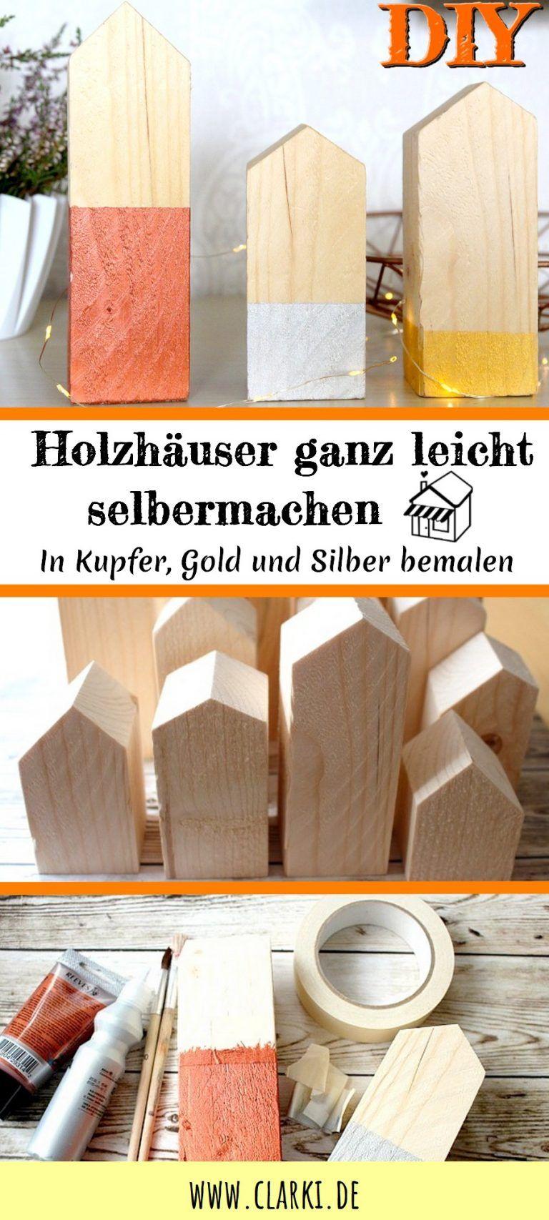 Deko-DIY: Holzhäuser einfach selber machen #weihnachtsdekofensterbank