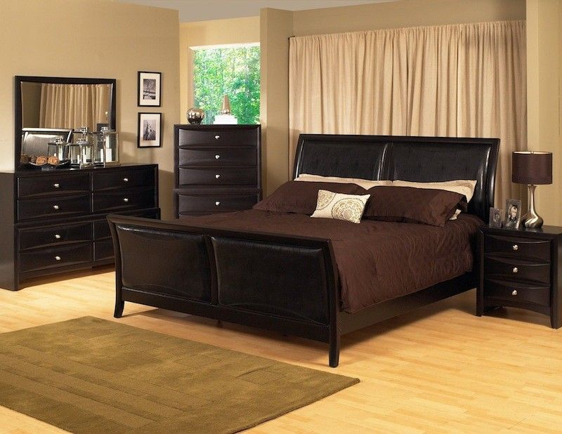KING Size BLACK Modern Sleigh Bedroom Set W/Padded Leather Headboard $1409
