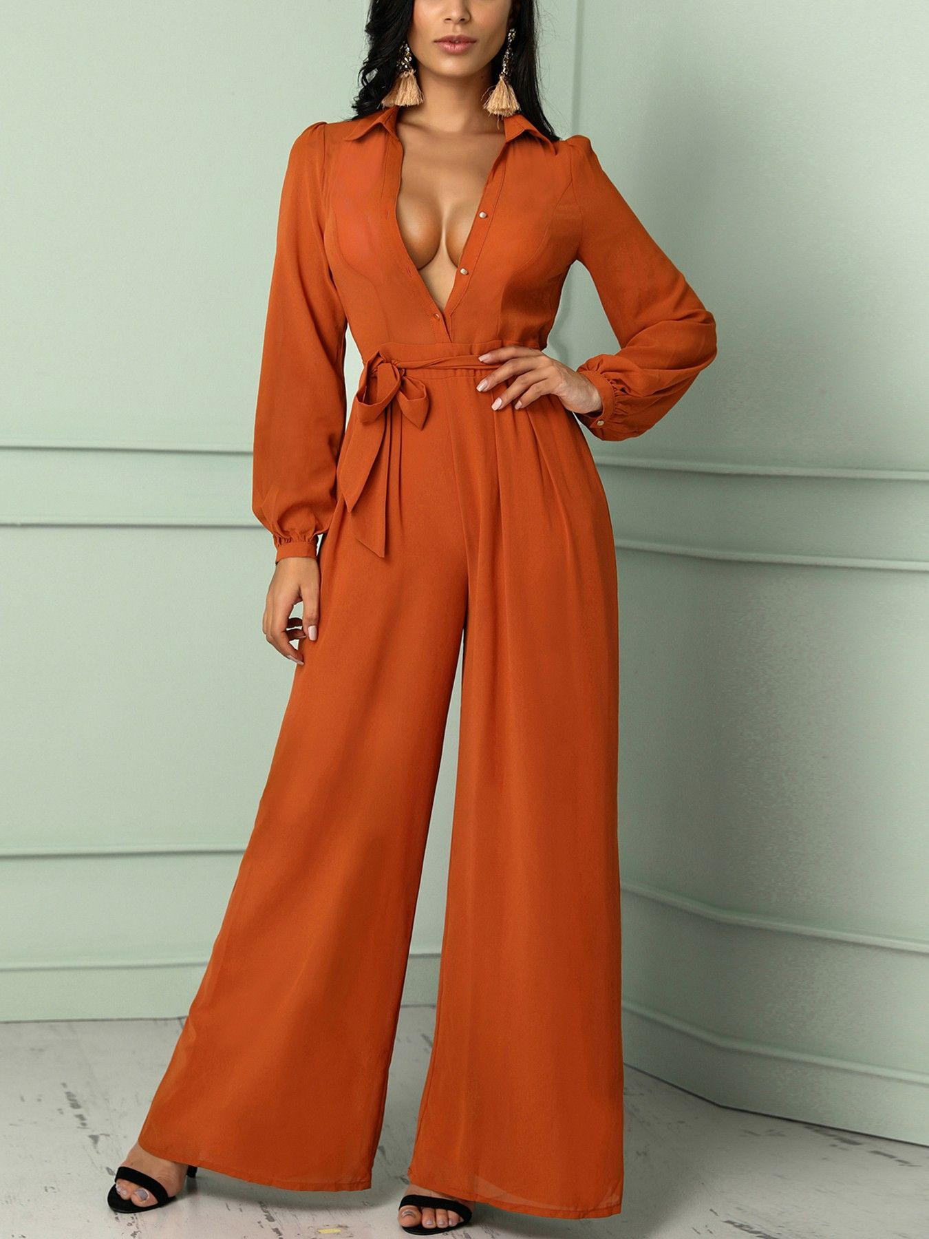 Solid long sleeve belted wide leg jumpsuit in fashion style