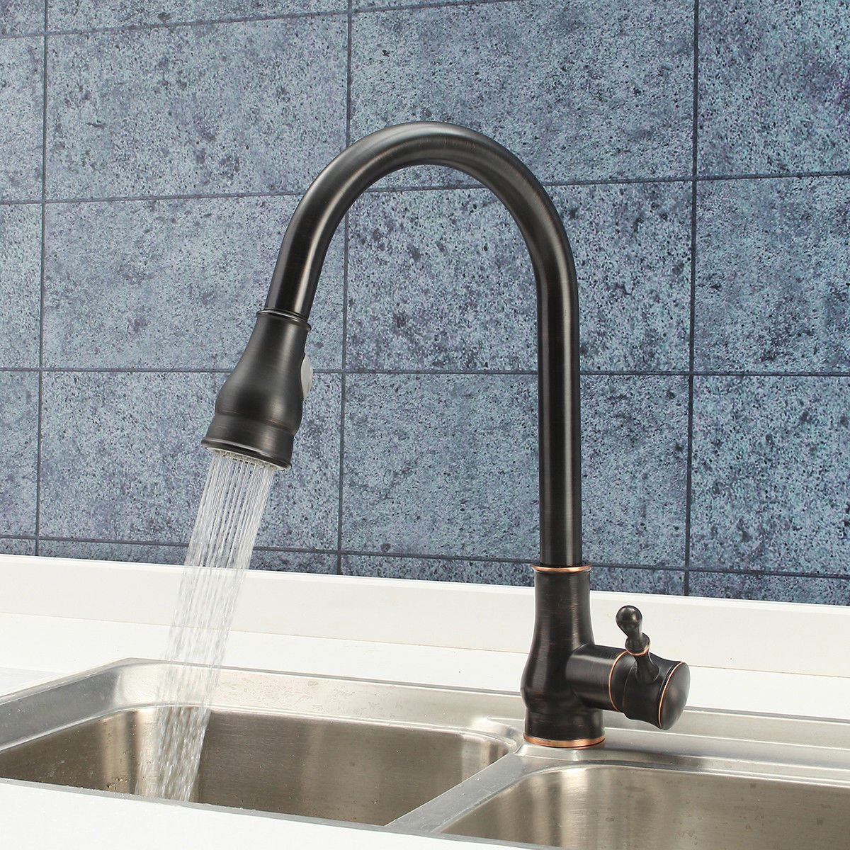 Modern Kitchen Oil Rubbed Bronze Faucet Pull Out Spray Brass Faucet ...