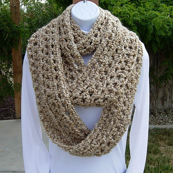 e408dd7b0 INFINITY SCARF Loop Cowl Solid Beige Light Tan, Color Options, Extra Long  Soft Thick Chunky Bulky Cr