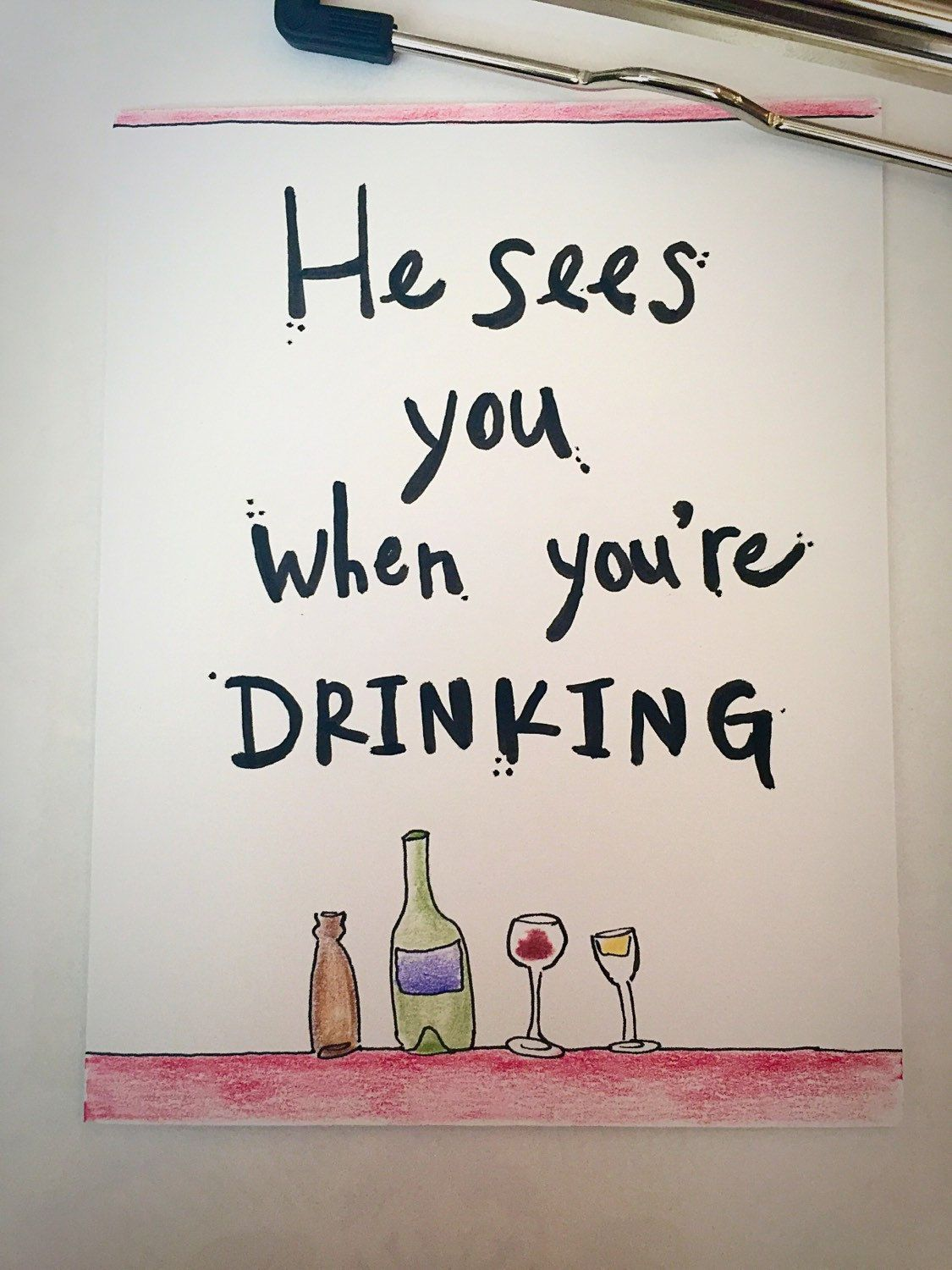 He Sees You When You 39 Re Drinking Funny Christmas Christmas Card Holiday Humor Santa Wine B Christmas Drinking Christmas Wine Bottles Christmas Humor
