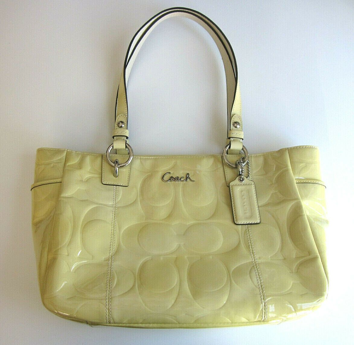 COACH Womens Yellow Vintage Patent Leather Light Blue