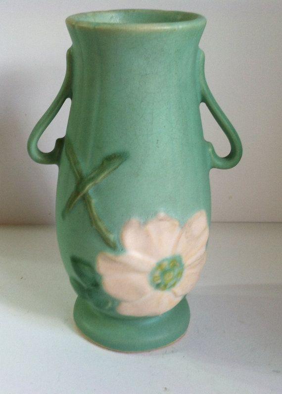 Weller Pottery Wild Rose Vase Hall Mccoyroseville And More