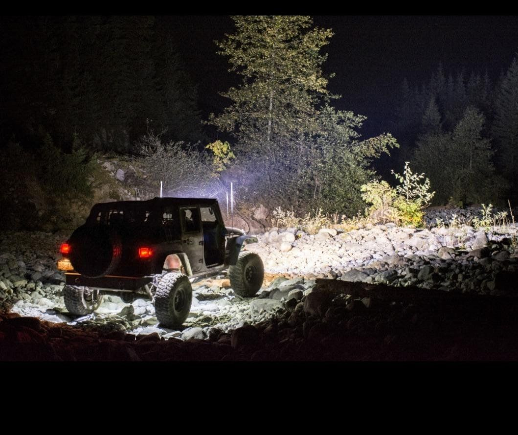 White Led Rock Lights Jeep In The Wild Dark Night Led Rock Light