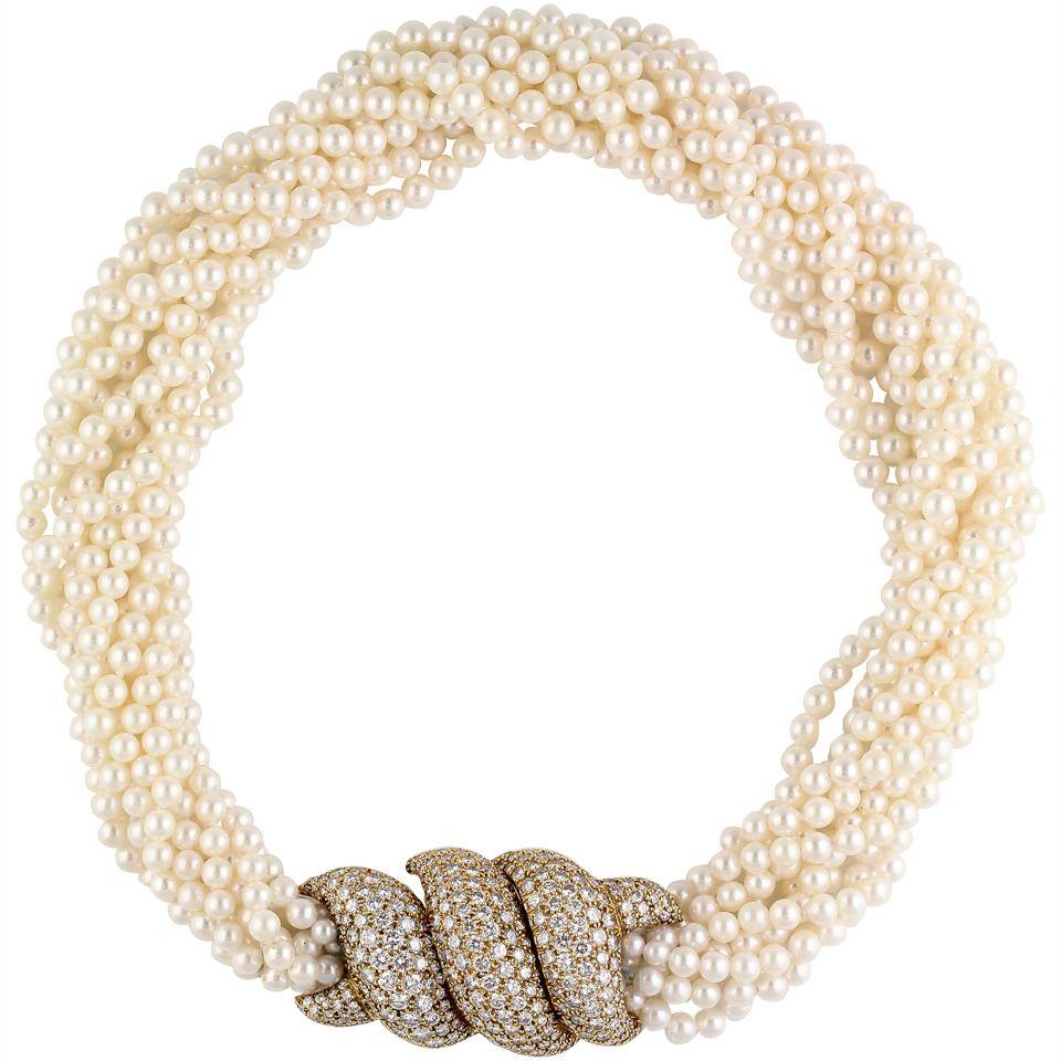 Harry Winston Pearl Diamond And Gold Torsade Choker Necklace