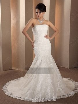 Wholesale Trumpet Mermaid Strapless Lace Sweep Train Ivory Beading