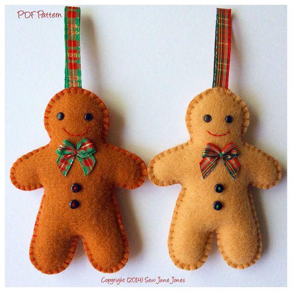 Felt Gingerbread Man Pdf Sewing Pattern Instant Download Etsy