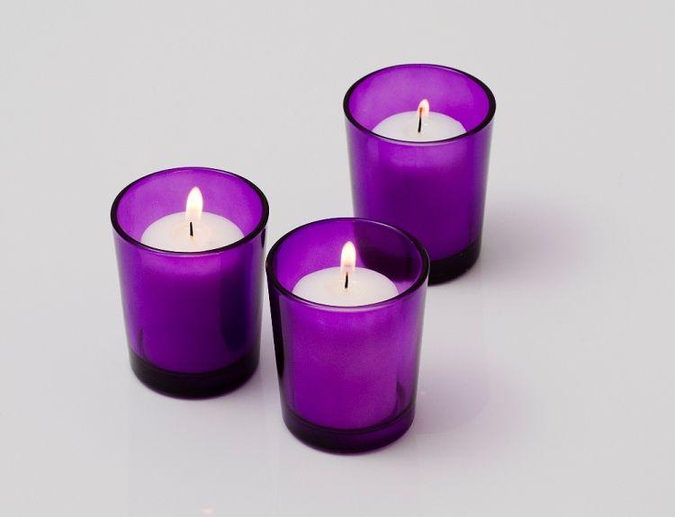 Wholesale Votive Candles Bulk 72 Holders 72 Votive Candles Colored Votive Candles Purple Votive Candle Holders Glass Votive Holders