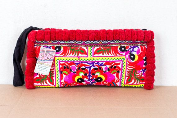 Multi Pom Pom White Peacock Embroidered Wristlet//Clutch Bag by Hmong Fair Trade