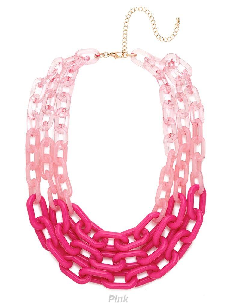 Multi Strand Chic Statement Chain Necklace Neon Pink
