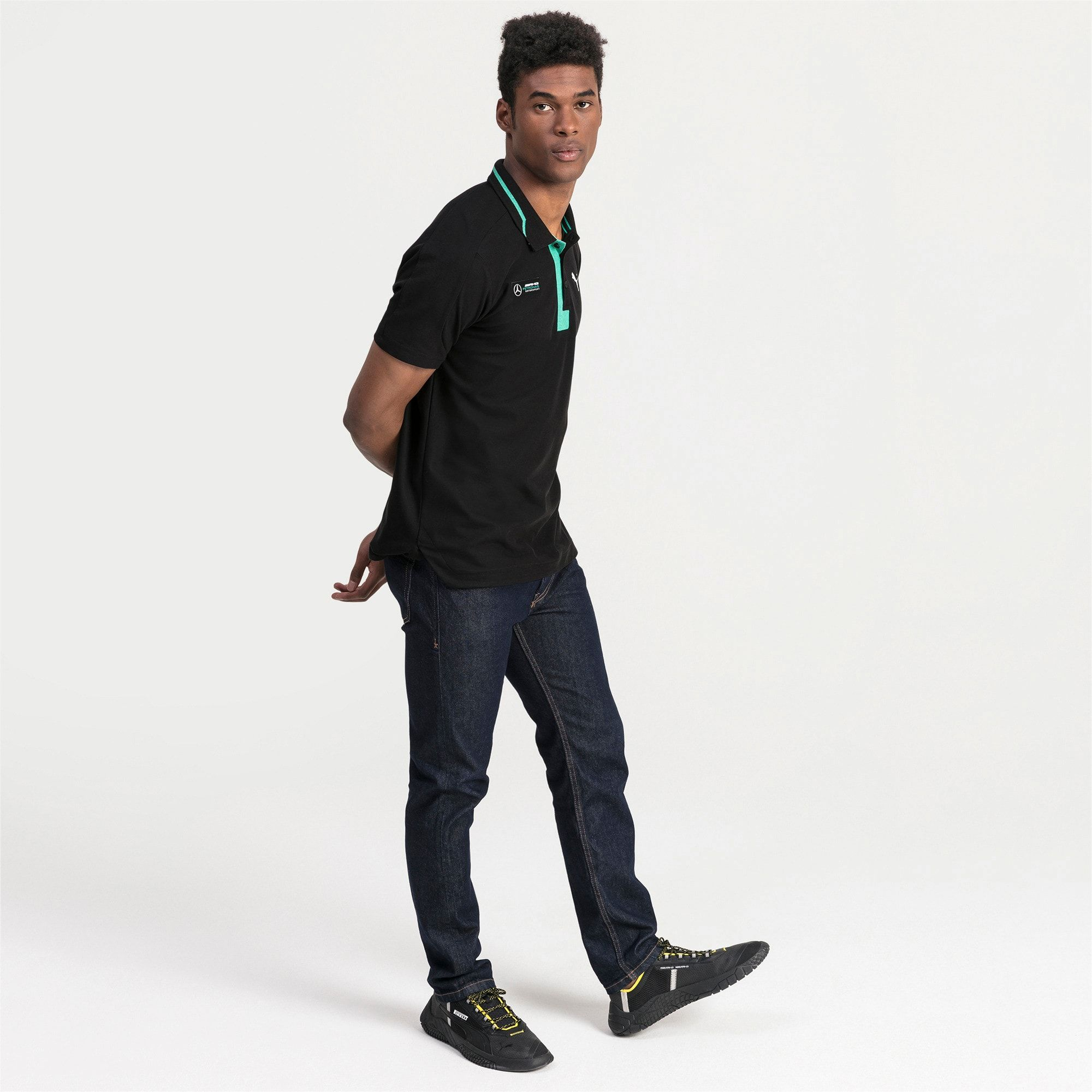 Mercedes AMG Petronas Men's Polo Shirt | Puma Black | PUMA Mercedes AMG Petronas | PUMA United Kingdom #mercedesamg