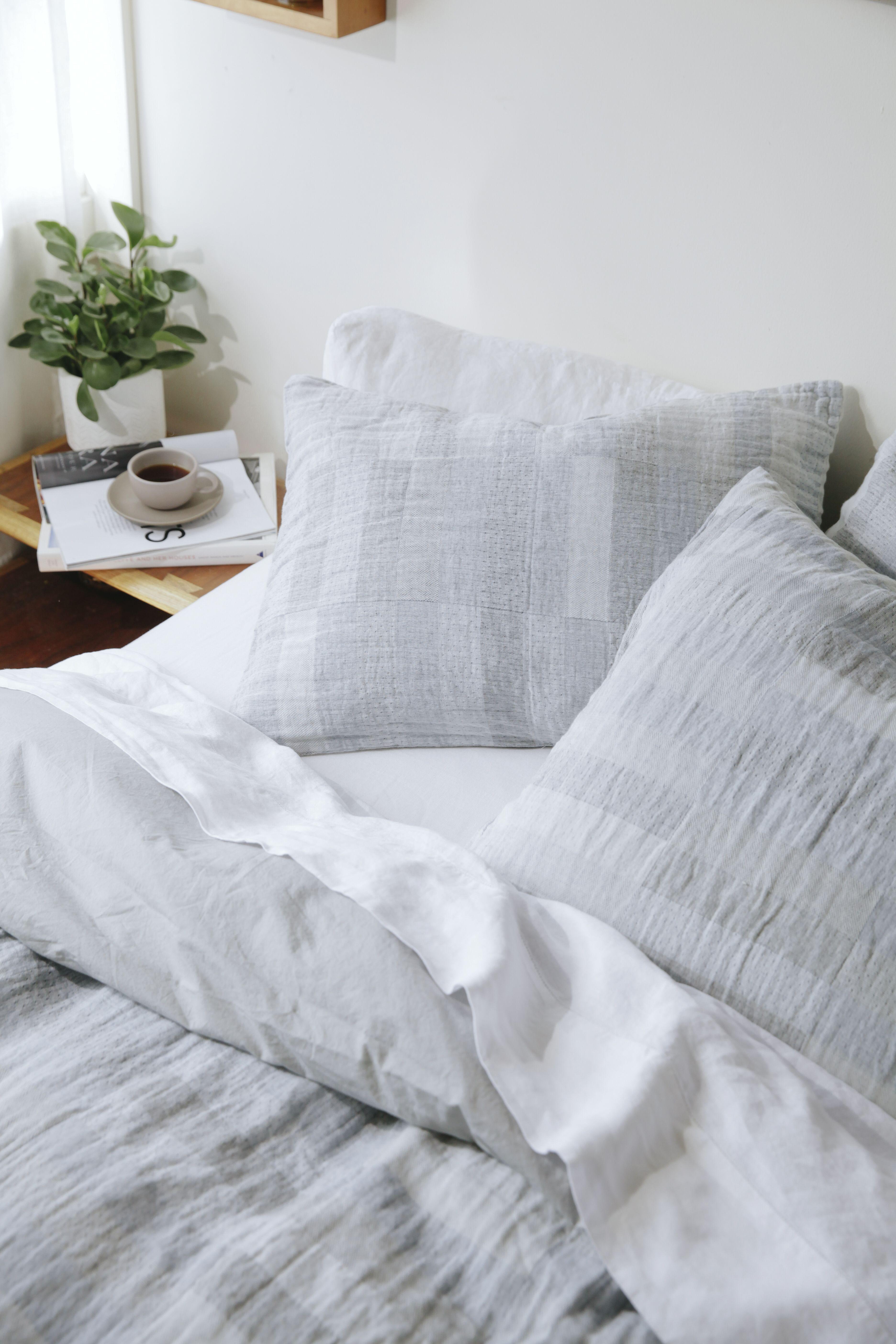 Anza Organic Matelasse Duvet Cover White Linen Bedding Grey