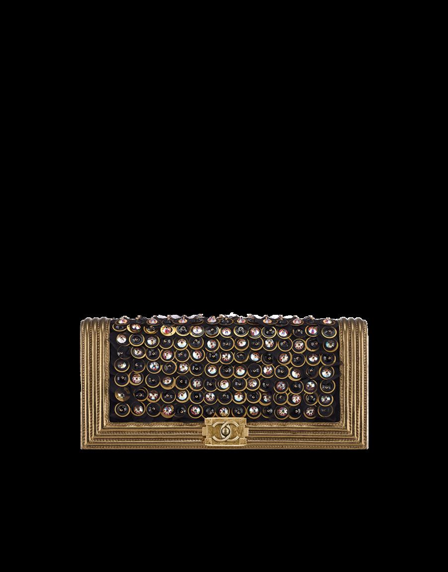 Clutch, goatskin, button embroideries, metallic lambskin & light gold metal-black & gold - CHANEL