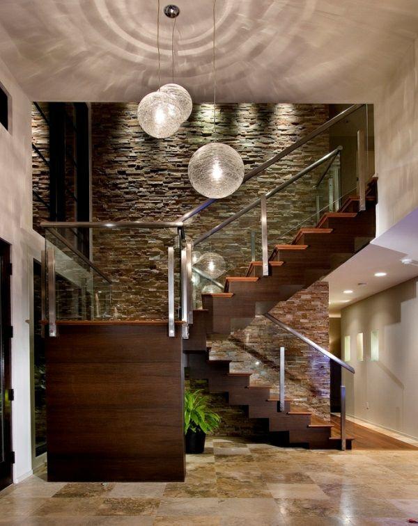 Natursteinwand im Wohnzimmer - die Natur zu Hause empfangen ...