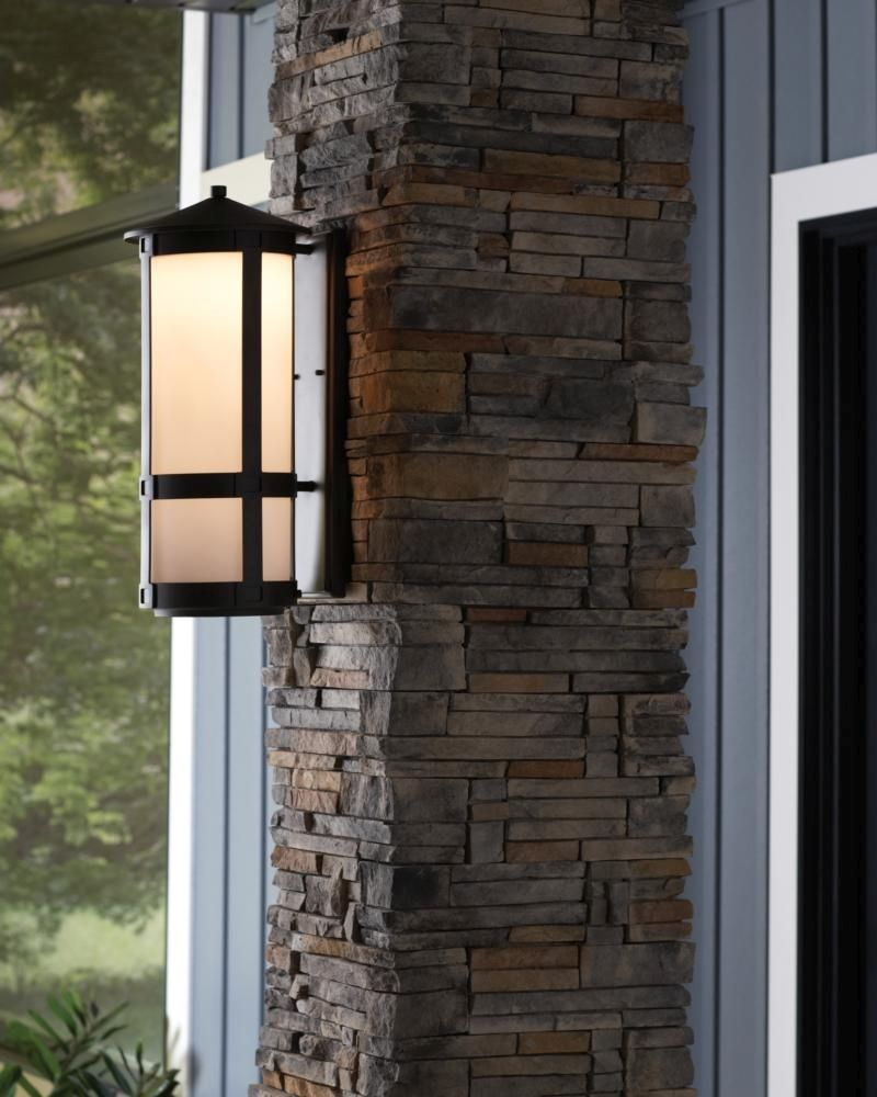 Sea gull lighting groveton small led outdoor wall lantern in antique