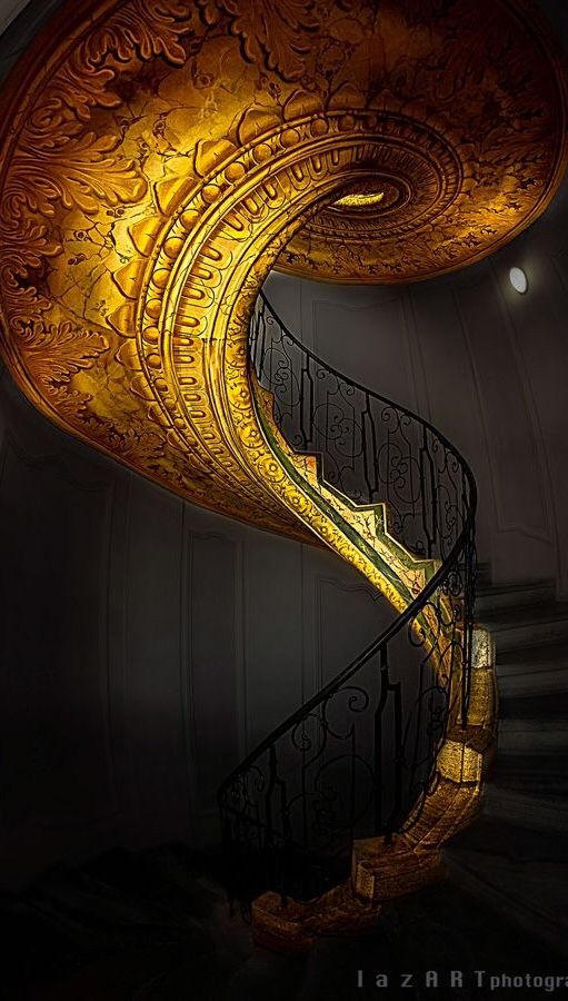 This Golden Stairway Takes My Breath Away Enjoy Rushworld Boards Stairways To Heaven Eye Candy Architectural Mas Beautiful Stairs Staircase Staircase Design