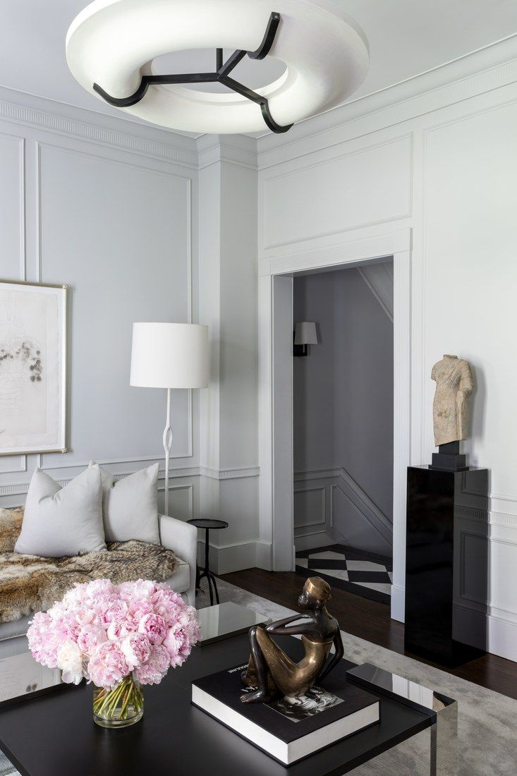 Beautiful contemporary grey living room with statue on black lacquer pedestal via thou swell thouswellblog also get the best looking house ever delightfull visit us for rh pinterest