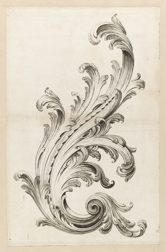 large swirling acanthus leaf design consisting of raffle leaves and a repetitive design of small ovals at the center filigree tattoo ornament drawing acanthus large swirling acanthus leaf design