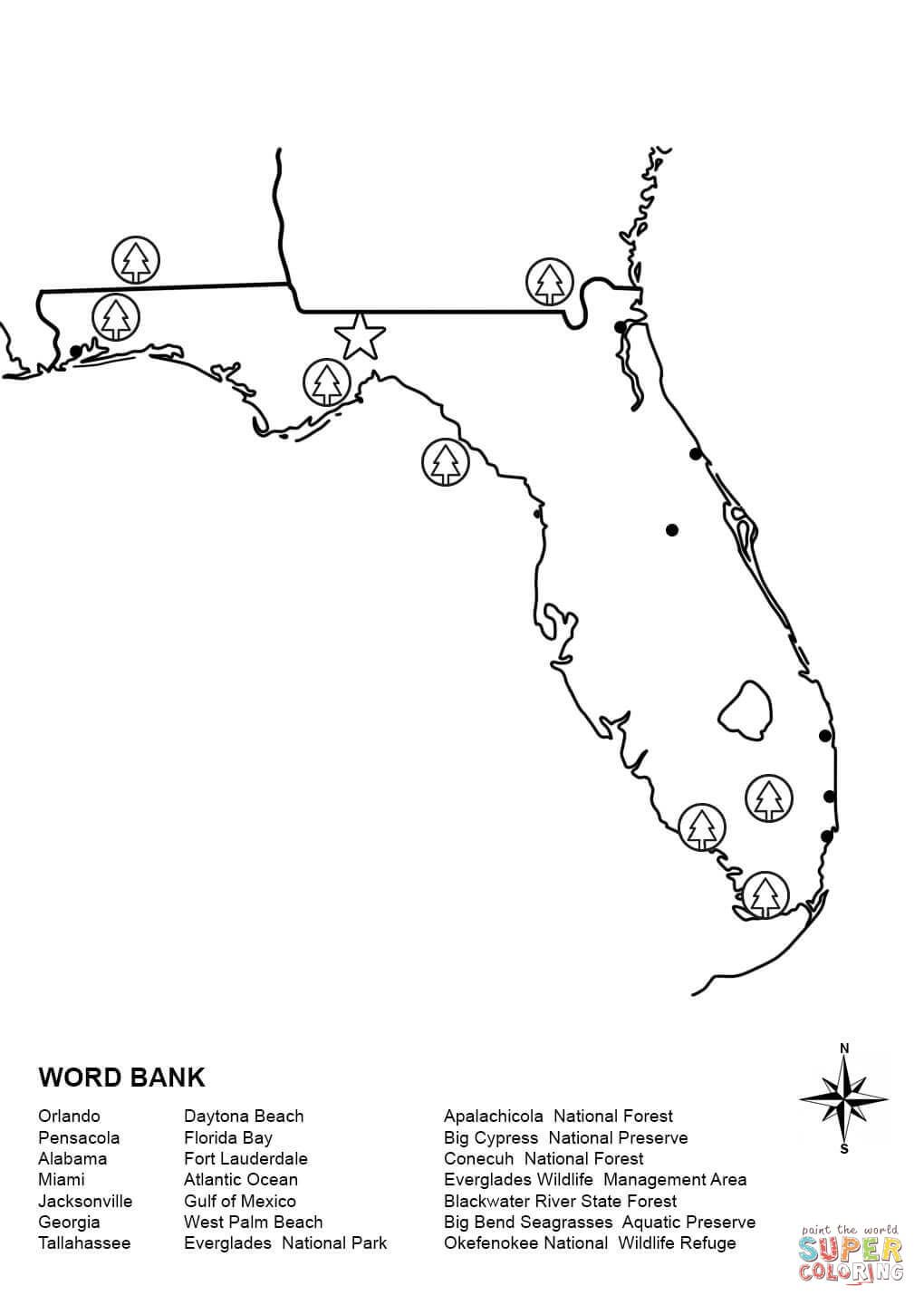 Florida Map Worksheet Super Coloring Map Of Florida Map