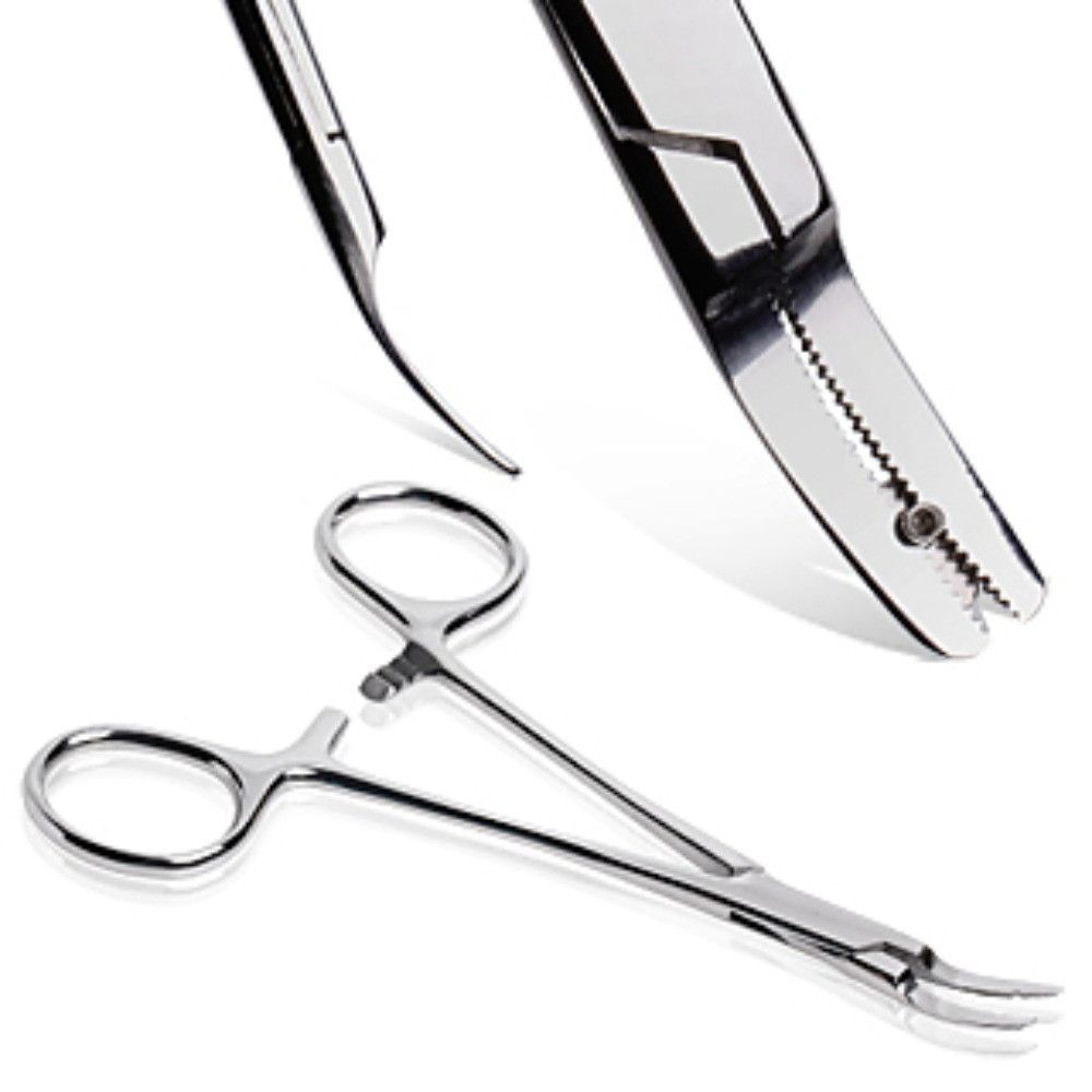 White piercing bump  Stainless Steel Curved Kelly Forceps with a Hole  Products
