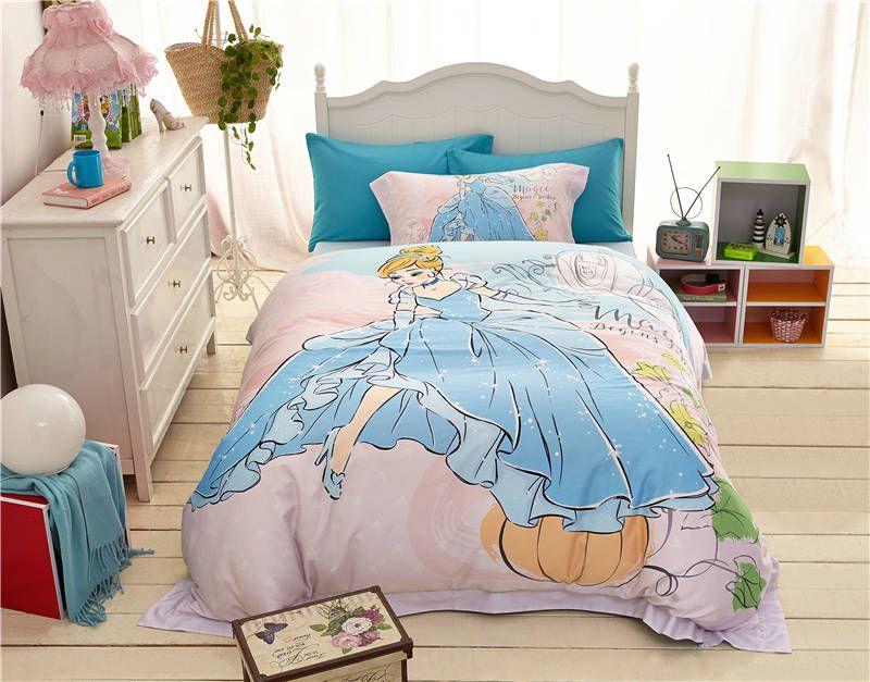 Haute Qualite 1000tc Coton Princesse De Dessin Anime Imprime