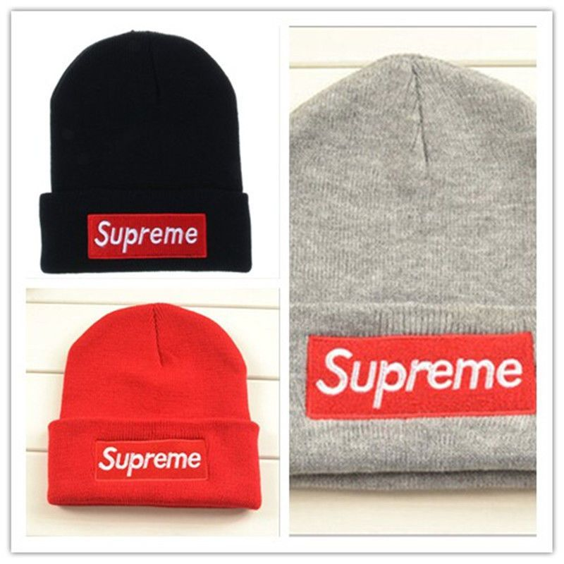 Supreme Wool hat men and women sets the first winter hat knitted hat ... fe47b568054