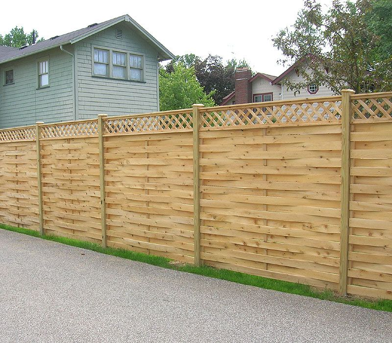 Superior Wood Fence Designs | ... Neighbor Basketweave Wood Fence With Diagonal  Lattice By Elyria