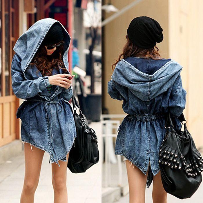 Modna Jeansowa Parka Kurtka Damska Plaszcz Kaptur 5719159383 Oficjalne Archiwum Allegro Denim Women Outerwear Fashion Denim Coat Women