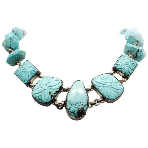 Preowned Stephen Dweck Sterling Silver Carved Turquoise Toggle... ($4,400) ❤ liked on Polyvore featuring jewelry, necklaces, multiple, turquoise jewelry, green turquoise jewelry, blue turquoise necklace, sterling silver toggle necklace and floral necklace