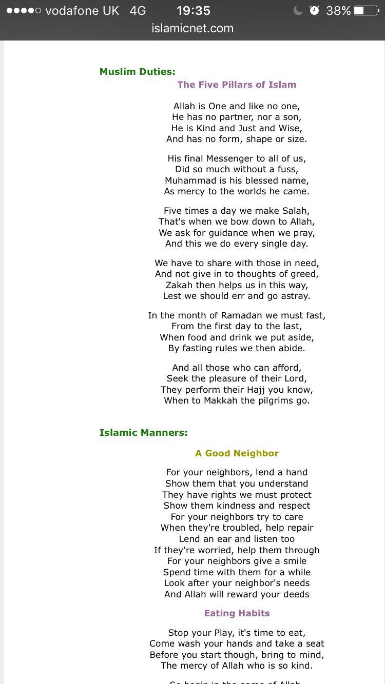 worksheet Five Pillars Of Islam Worksheet Answers poem muslim duties the five pillars of islam from httpwww http