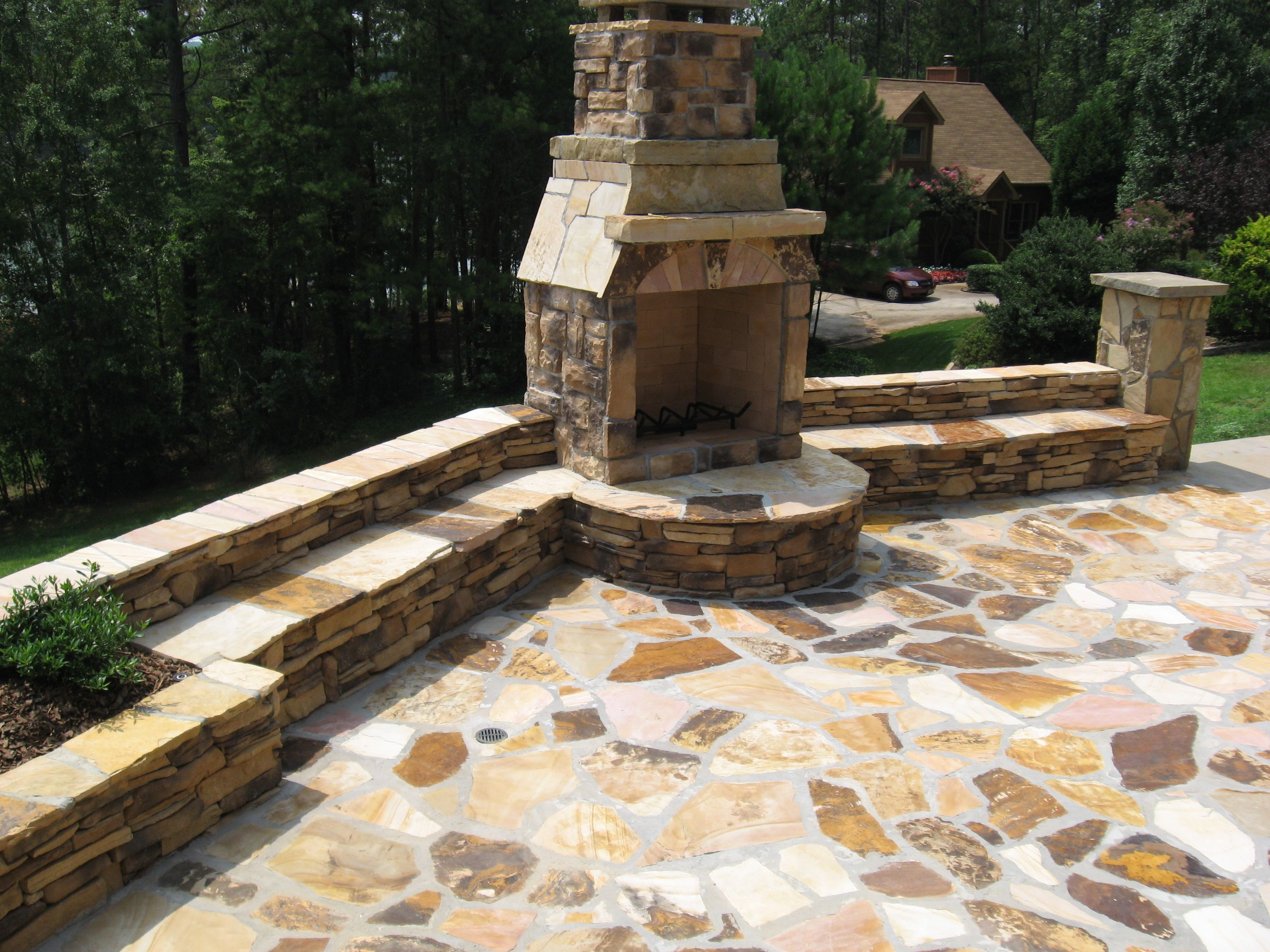 Tennessee Fieldstone Fireplace : Tennessee fieldstone fireplace and seating wall with a