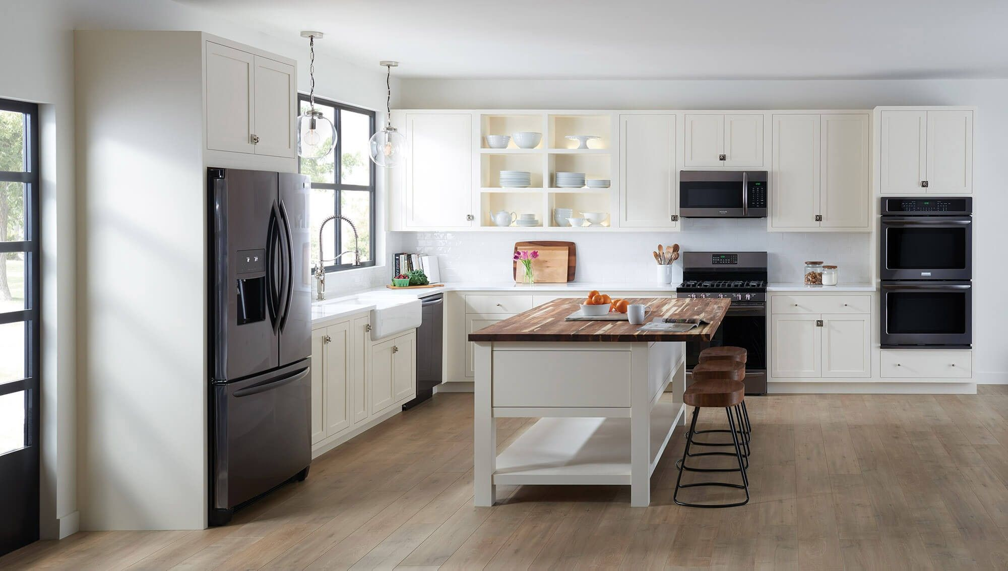 Awesome White Kitchen Stainless Steel Appliances