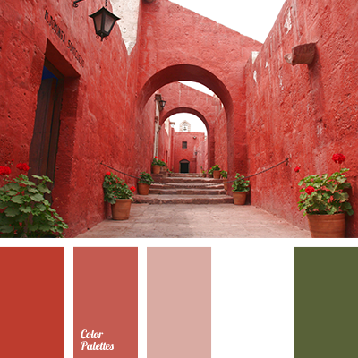Brick red and terracotta colours with dark green form a - How to make terracotta colour ...