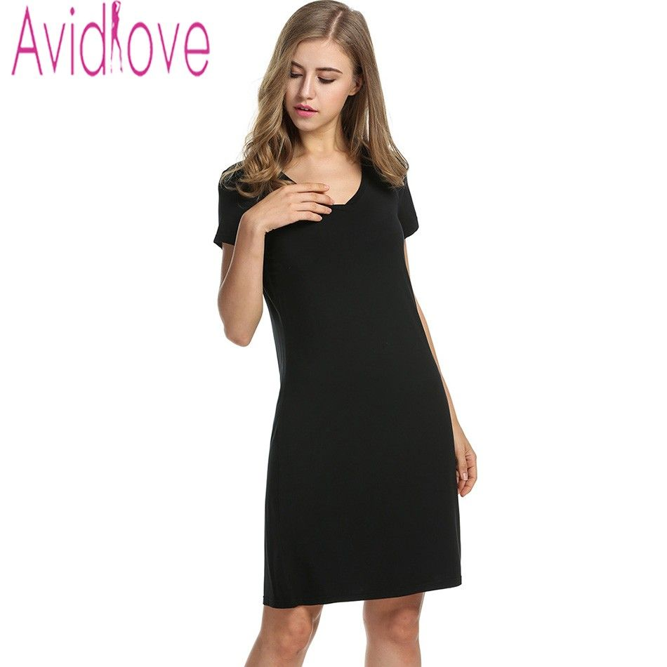 0b0c64528 Avidlove Sexy Women Slim Nightgown V-Neck Short Sleeve Loose Sleepwear  Casual Solid Basic Home