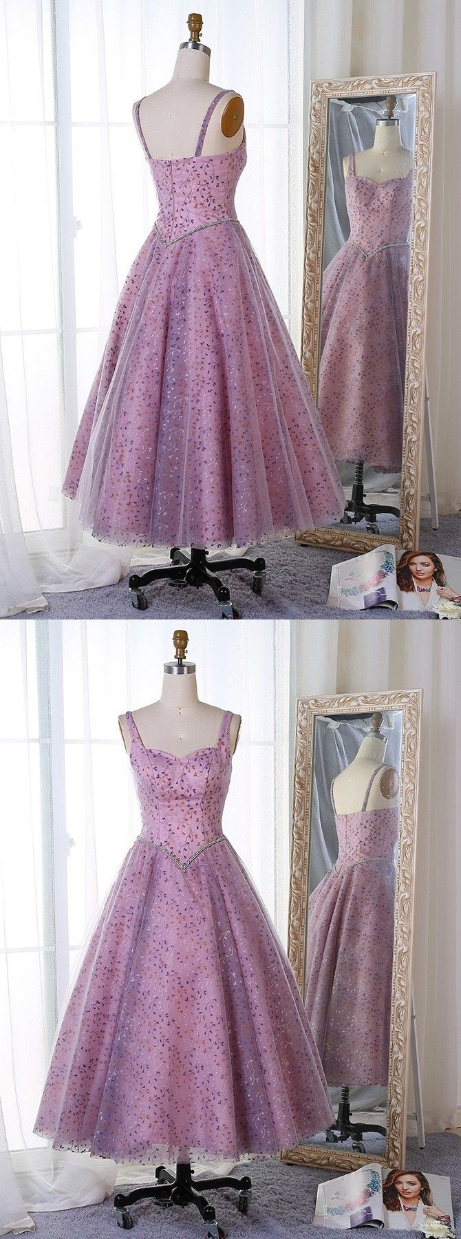 Aline straps midcalf lavender tulle prom dress with lace beading